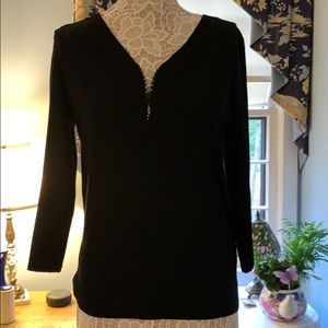 Cable & Gauge Black Sweater with Rhinestone Zipper